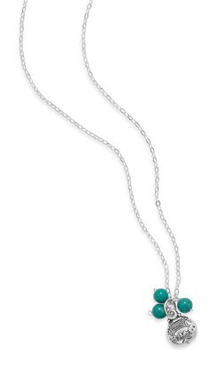 """16"""" + 1"""" Turquoise Bead Necklace with """"Good Luck"""" Charm"""