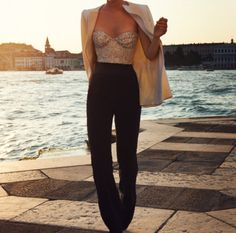 Pairing a sequined top with trousers