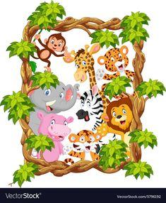 Illustration of Collection animal safari vector art, clipart and stock vectors. Cartoon Sea Animals, Jungle Animals, Baby Animals, Cute Animals, Jungle Theme Classroom, Jungle Decorations, Bunny Painting, Jungle Art, Baby Clip Art