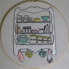 Retro Kitchen Shelves | Embroidered Retro kitchen shelves, i… | Flickr
