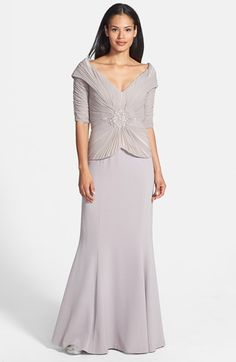 Daymor Embellished Stretch Tulle & Crepe Gown at Nordstrom.com. An exquisitely hand-beaded adornment centers the finely pleated portrait-collar bodice of a mock two-piece gown finished with an elegant crepe skirt that sweeps into a floor-grazing flared hemline.