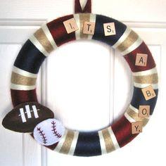 It's a Boy Sports Wreath Wreath Crafts, Wreath Ideas, Diy Crafts, Sports Theme Birthday, Sports Wreaths, Niece And Nephew, Baby Boy Rooms, Diy Stuff, Garlands