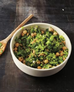 Broccoli and Chickpea Salad Scallions, parsley, and pine nuts dot this nutritious salad.