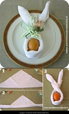 Folded napkin in bunny tutorial