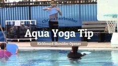 Using a kickboard in Chair Pose in the pool challenges you stay grounded and lift your chest. Two very different actions tha. Aquatic Therapy, Chair Pose, Yoga Courses, Online Group, Yoga Tips, Yoga Videos, Swimming Exercises, Health And Wellness, Join