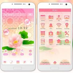 """""""Pink Water Lily"""" 6/15 '15 This theme featuring a water lily, lace design and pink gradation in the background is sure to have you feeling classy. http://app.android.atm-plushome.com/app.php/app/themeDetail?material_id=1101&rf=pinterest #wallpaper #design #girl #plushome #flower"""