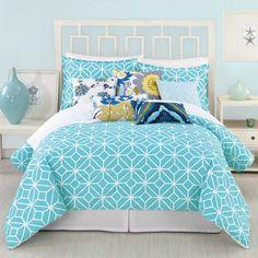 Love this bright bedding - so refreshing!