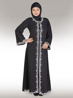Jilbab Online, Abaya Sale, Black Front Open Abaya, Eid Abaya - www.mybatua.com