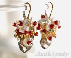 Artisan gemstone earrings. Smoky Quartz, Garnet, Citrine, Pyrite gemstones and Keshi pearls wire wrapped in gold filled by Arctida