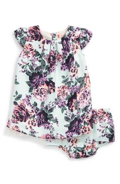 Ruby & Bloom Floral Print Cap Sleeve Satin Dress (Baby Girls)