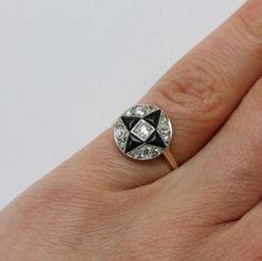 Art Deco Onyx Diamond Gold Engagement Ring 3
