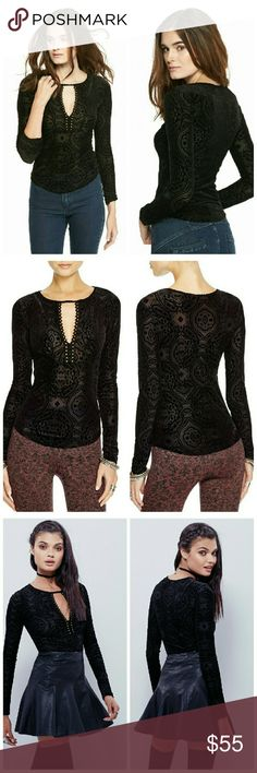 FREE PEOPLE Velvet Studded Keyhole Top Long Sleeve Brocade velvet long sleeve top featuring a plunging neckline with metal stud detailing and a rounded hem. Perfect for layering.  Allover paisley print Studded neckline with plunging keyhole Semi sheer. Pullover V-neckline. Long sleeves 45% Nylon/40% Polyester/15% Spandex Machine Wash Free People Tops Blouses
