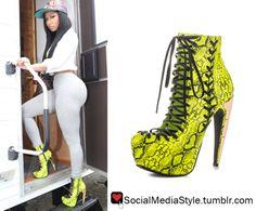 Buy Nicki Minaj's Neon Yellow Snakeskin Print Boots, here!