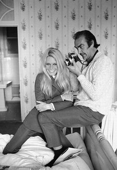 Brigitte Bardot with Sean Connery while filming western Shalako, 1968