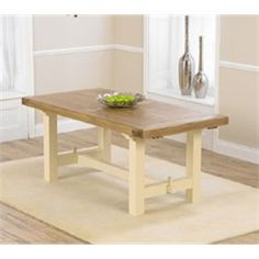 Marino Solid Oak and Cream Extending Dining Table Extends to Extendable Dining Table, Dining Bench, Solid Oak, Cream, Kitchen, Furniture, Home Decor, Creme Caramel, Expandable Dining Table