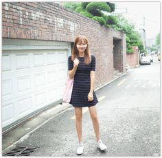 CHERRYKOKO - Short-Sleeve Stripe A-Line Mini Dress