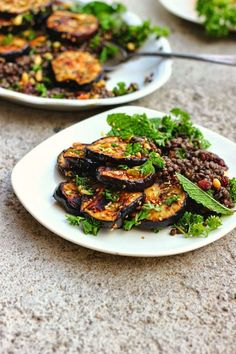 Za'atar Grilled Eggplant + Herby Lentil Salad | happy hearted kitchen.