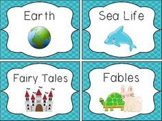 Classroom Library Book Bin Labels & Book Stickers - Blue/A