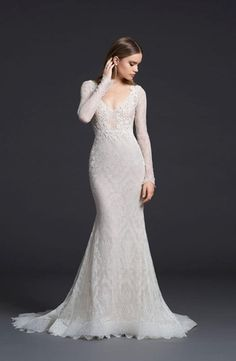 Lazaro V-Neck Fit and Flare Wedding Dress  with Natural Waist in Chantilly Lace. Bridal Gown Style Number:33470816