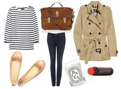 trench coat, stripes, skinny jeans, nude flats and a camel bag