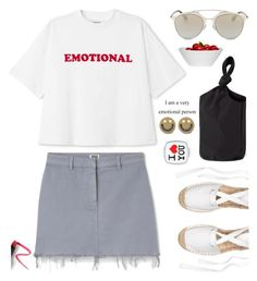 """""""I am a very Emotional person....."""" by hamaly ❤ liked on Polyvore featuring Ruifier, Lapcos, outfit, ootd, trends and denimskirt"""