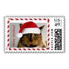Meowy Christmas, Cute Cat in Santa Hat Xmas Stamp