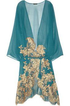 mezza luna teal silk lace robe