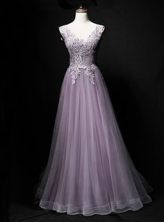 Lavender tulle, V neck ,long A-line ,lace evening V Neck Prom Dresses, Lace Evening Dresses, Spring Dresses, V Neck Dress, Special Dresses, New Fashion, Party Dress, Fashion Dresses, Tulle