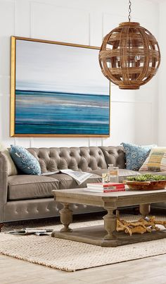 The peaceful, ethereal blues of the Washington coastline are captured in our Puget Sound Giclée Print. The artist's original work is beautifully replicated on a quality canvas that's stretched over wood, embellished with gold and a hand-textured finish, and then set in a floating soft gold finish frame.