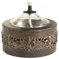 Black & Gold Fleur de Lis Oil Burner