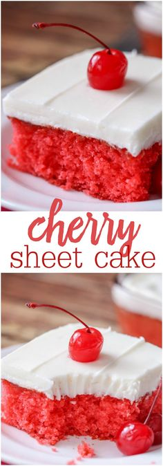 Cherry Sheet Cake - a moist, cherry jello cake topped with a homemade almond buttercream frosting! SO delicious! Delicious Cake for you 13 Desserts, Delicious Desserts, Dessert Recipes, Yummy Food, Cherry Desserts, Delicious Chocolate, Homemade Chocolate, Health Desserts, Cupcakes