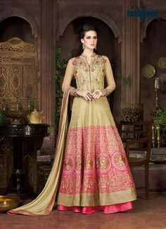 Enchant the mantra of being stylish in this attire. Style and trend will be at the peak of your beauty when you attire this beige silk a line lehenga choli. It is uniquely crafted with embroidered and...