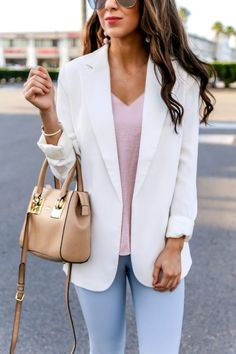 Cream Blazer with Cami and Dress Pants for Work. Spring Work Outfit. Work Outfits for Spring Season. White Blazer. Cream Blazer for Work. Blue Dress pants. Light blue dress pants. Dress pants for Spring. Pastel colors for Spring. #workwear #workoutfits #springoutfit