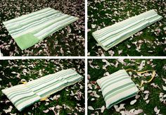 This picnic blanket has vinyl on the underside to keep it dry and folds into an attached carrying tote.