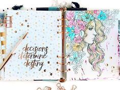Did you know the Breathe planner had beautiful rose-gold foil quote dividers? Pair with a Prima Princess coloring page for a beautiful, colorful, meaningful spread! #rosegold #MPP #MyPrimaPlanner #PrimaPrincess #planners #planneraddicts  #plannerlove @sharonlaakkonen