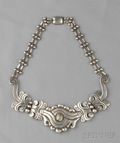 """Necklace   Hector Aguilar.  """"Maguey"""".  Sterling silver"""
