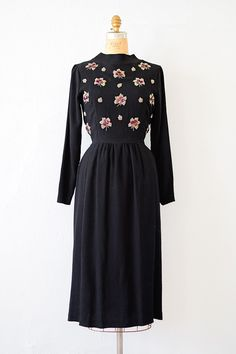 vintage 1940s black rayon dress with sequined flowers