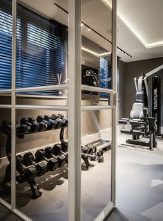 Renovation project, designed by the architects and stylists of Kabaz. Home Gym Set, Best Home Gym, Home Gym Design, House Design, Gym Setup, Sport Studio, Best Home Workout Equipment, Foam Flooring, Villa