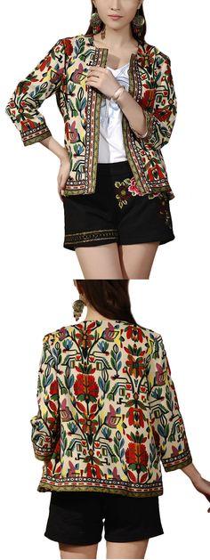 US$ 20.86 O-NEWE Women Ethnic Printed 3/4 Sleeve Short Cardigan Jacket