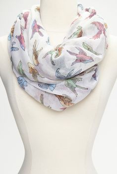 White Colorful Bird Infinity Scarf
