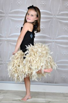 Wedding Couture Feathered Skirt in Beige Champagne. via Etsy.