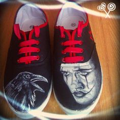 Personalized handpainted shoesThe Crow Fanart shoes by MadCandies