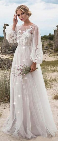 Fabulous Tulle Jewel Neckline Natural Waistline A-line Wedding Dress With Beaded Lace Appliques Perfect Wedding Dress, Best Wedding Dresses, Bridal Dresses, Wedding Gowns, Bridesmaid Dresses, Lace Wedding, Trendy Wedding, Wedding Vintage, Wedding Themes