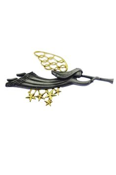 This vintage pewter angel brooch features a large angel with gold wings playing the trumpet and flying over golden stars. Golden Star, Trumpet, Pewter, Angel, Stars, Retro, Brooches, Vintage, Products