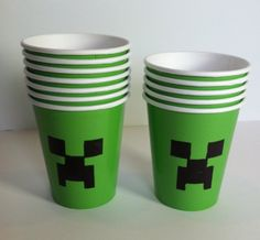 How To:  Creeper Cups with template for Minecraft Party