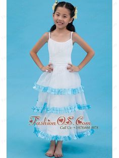 White A-line Straps Flower Girl Dress Ankle-length Organza Ruch  http://www.fashionos.com  white ankle length flower girl dress | white organza flower girl dress | flower girl dresses for toddlers | where you can order flower girl dress | 1st communion dresses