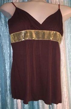 L.A Kitty Juniors M Brown/gold Sequin Accent Spaghetti Strap Cami Tank Top Club    eBay