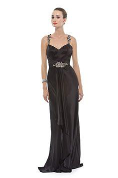 Vestido longo em seda pura com alças e costas bordadas em pérolas, strass e canutilhos. Cod. 101617pt   #zumzum #zumzumfesta #vestido #festa #vestidodefesta #dress #partydress