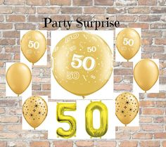 50th Anniversary Balloon 36 50th Birthday Gold by PartySurprise