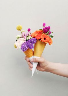 ice cream cone + flowers